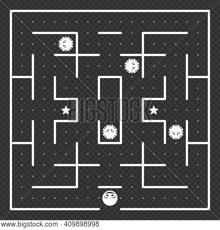 Game Concept With Ghosts. Modern Arcade Video Game Interface And Design Elements. Game World. Comput