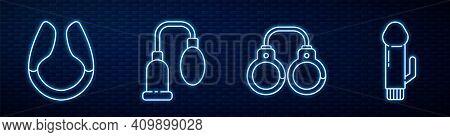 Set Line Sexy Fluffy Handcuffs, Dildo Vibrator, Penis Pump And Dildo Vibrator. Glowing Neon Icon On