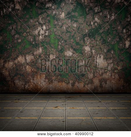 Grunge Industrial Interior With Metal Floor And Old Damaged Wall