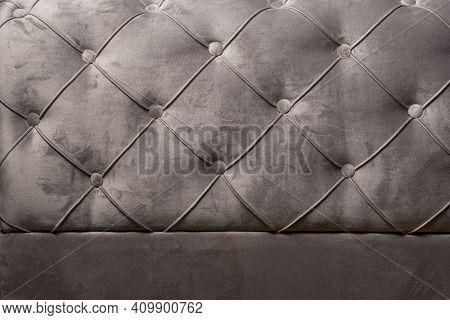 Gray Velvet Sofa Background Texture With Sunken Buttons, Close Up Velvet Texture