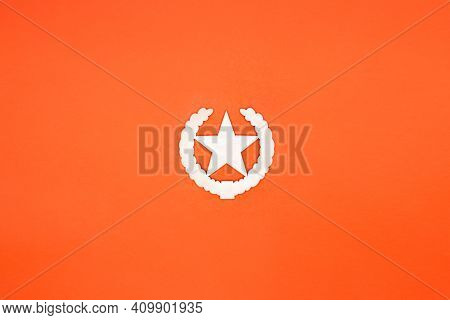 Sign Of Victory, Star, First Place, Success In White On An Orange Background