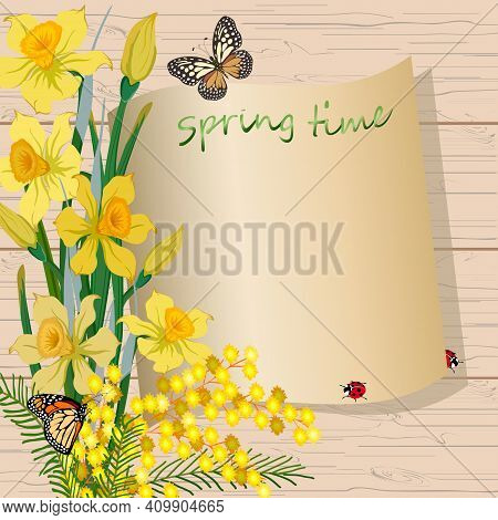 Spring Flowers And Insects In Illustration.colored Illustration With A Bouquet Of Spring Flowers And