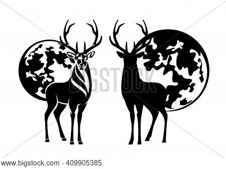 Standing Deer Stag With Large Antlers And Full Moon - Night Wildlife Black And White Vector Design S