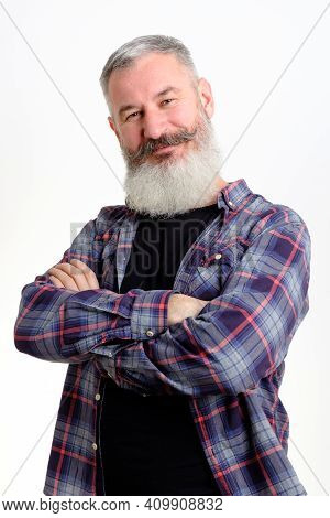 Studio Portrait Of Smiling Bearded Man In Casual Clothes Looking To Camera, Informal Lifestyle, Yell