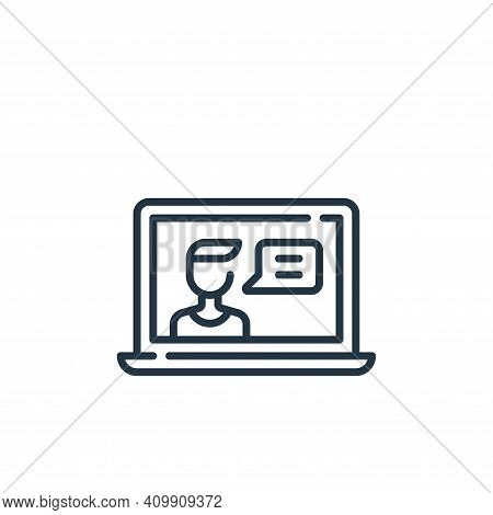 video chat icon isolated on white background from fame collection. video chat icon thin line outline