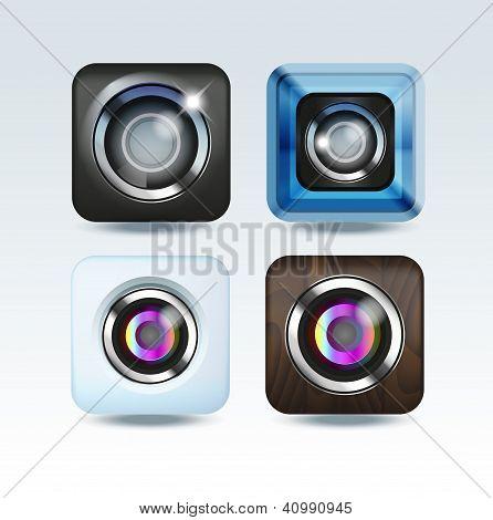 Camera photo app icon set