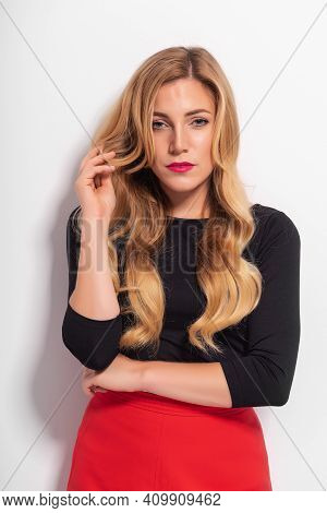 Fashionable Stylish Young Blonde Woman. Portrait Of A Beautiful Blonde.