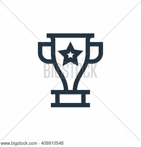 trophy icon isolated on white background from feedback and testimonials collection. trophy icon thin