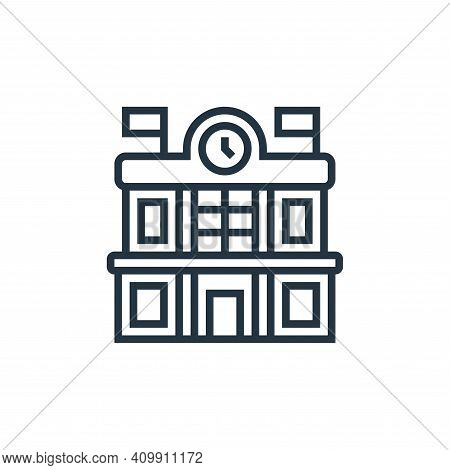 train station icon isolated on white background from railway collection. train station icon thin lin