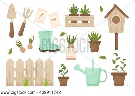 Set Spring Gardening Wooden Fence, Birdhouse, Flowerpot, Hyacinth And Wooden Box Isolated On White B
