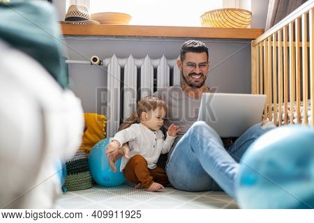 Father trying to work from home