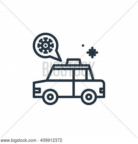 taxi icon isolated on white background from virus collection. taxi icon thin line outline linear tax