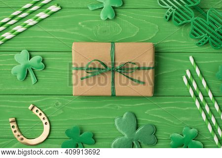 Top Flat Lay Above Overhead Close Up View Photo Image Of Packed In Craft Paper Giftbox Spectacles Ha