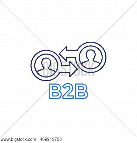 B2b Marketing Icon, Line Vector On White