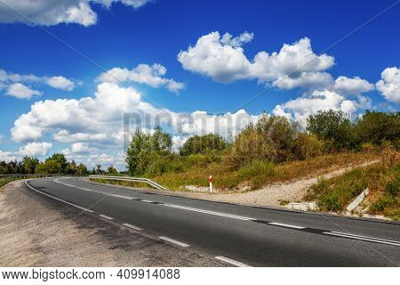 Travel by spring mountain road