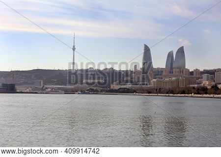 Baku With The Flame Towers Skyscrapers, Television Tower And The Seaside Of The Caspian Sea . View F