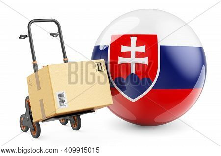 Parcel On The Hand Truck With Slovak Flag. Shipping In Slovakia, Concept. 3d Rendering Isolated On W