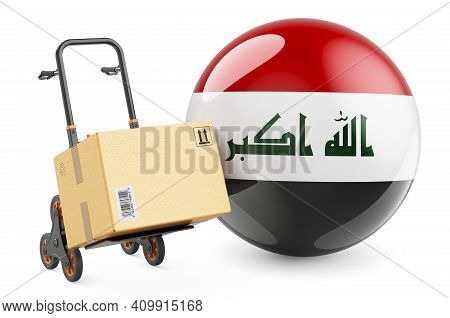 Parcel On The Hand Truck With Iraqi Flag. Shipping In Iraq, Concept. 3d Rendering Isolated On White