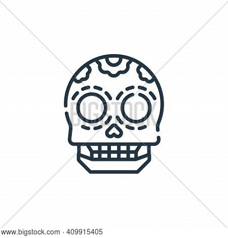 skull icon isolated on white background from mexico collection. skull icon thin line outline linear