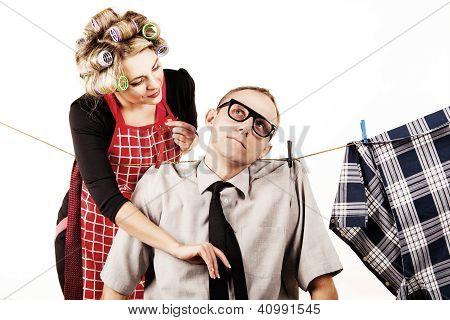 Careful Houswife Washong His Husband