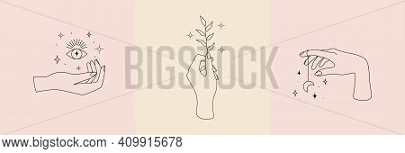 Mystic Occult Collection With Magic Symbol Of Hands, Plant, Moon, Eye And Stars. Vector Illustration