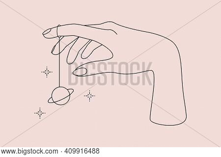 Mystic Occult Logo With Magic Symbol Of Hands, Planet And Stars. Vector Illustration For Astrology E