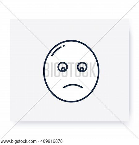 Slightly Frowning Face Line Icon. Sad Face With Open Eyes And A Slight Frown. Disappointment Emotico