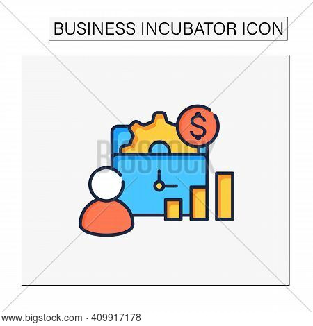 Management Of Business Color Icon. Correct Coordination Of Business Project. Successful And Profitab