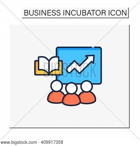 Comprehensive Business Training Programs Color Icon. Productivity Growth, Refresh Workforce Skill, M