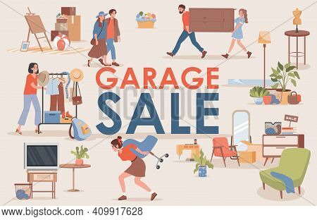 Garage Sale Vector Flat Banner Template With Text Space. Happy Smiling Men And Women Buy And Sell Vi