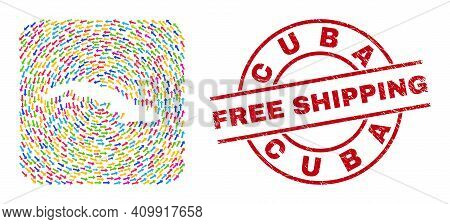 Vector Mosaic Cuba Map Of Moving Arrows And Rubber Free Shipping Seal. Collage Geographic Cuba Map C
