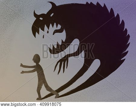 Illustration Of Fear, Worry, Anxiety, Psychological Problems. A Man Running From Problems, A Ghost,