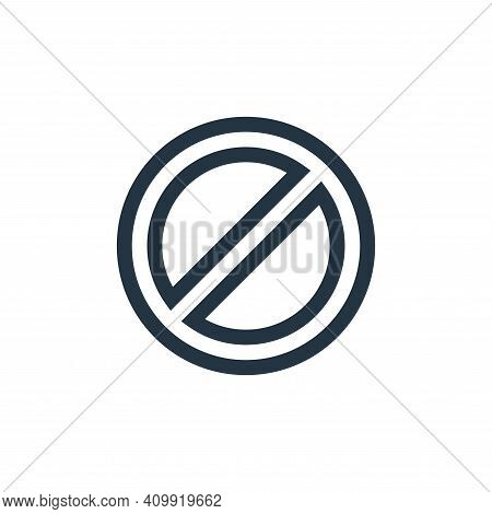 prohibition icon isolated on white background from web essentials collection. prohibition icon thin
