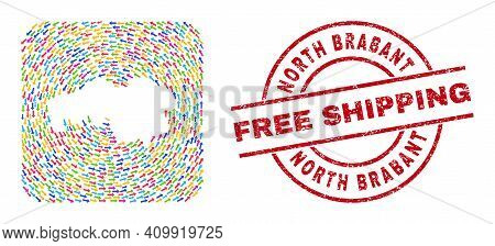 Vector Collage North Brabant Province Map Of Migration Arrows And Rubber Free Shipping Badge.