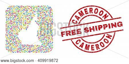 Vector Collage Cameroon Map Of Moving Arrows And Grunge Free Shipping Badge. Collage Geographic Came