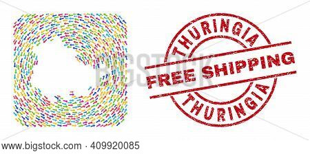 Vector Collage Thuringia Land Map Of Moving Arrows And Rubber Free Shipping Badge. Collage Geographi
