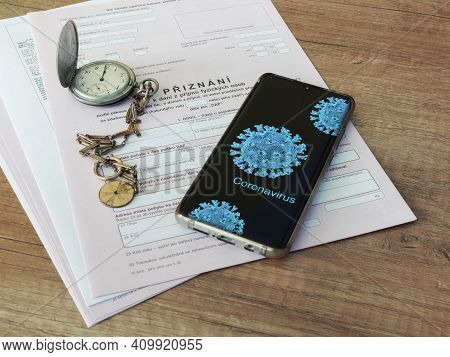 Czech Republic, Prague, 25 February 2021: Tax Form, Czech Declaration Of Corporation Taxes. Focus On