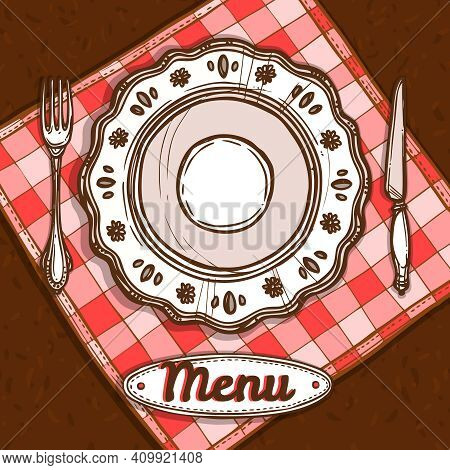Menu Poster With Porcelain Plate Napkin And Silverware Sketch Vector Illustration