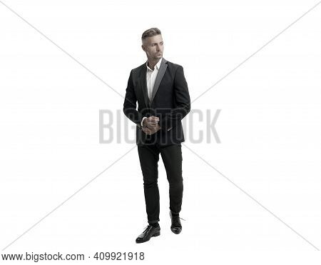 For Formal Occasions. Professional Man Wear Business Suit. Wearing Formal Style. Stylish Menswear. C