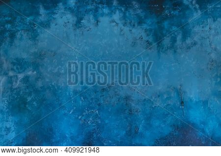 Blue Background From Venetian Plaster With Imitation Of Marble Texture. Blue Wall In The Interior Wi