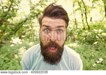 Discover Life. Mature Bearded Man Feel Surprise. Summer Camping Vacation. Man Hipster Hiking. Male B