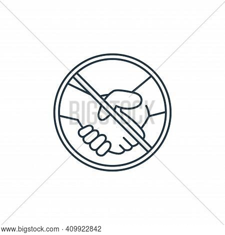 No touch icon isolated on white background from coronavirus covid collection. No touch icon thin lin