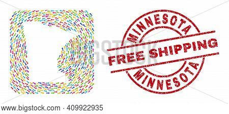Vector Collage Minnesota State Map Of Swirl Arrows And Scratched Free Shipping Seal. Collage Geograp