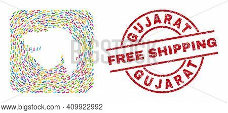 Vector Mosaic Gujarat State Map Of Pointer Arrows And Scratched Free Shipping Seal Stamp. Collage Ge