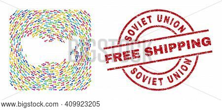 Vector Mosaic Soviet Union Map Of Pointing Arrows And Scratched Free Shipping Seal Stamp. Mosaic Geo