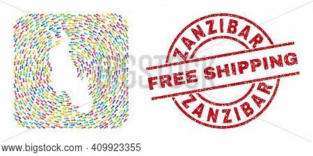 Vector Collage Zanzibar Island Map Of Delivery Arrows And Rubber Free Shipping Seal. Collage Geograp