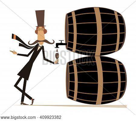 Cartoon Long Mustache Man, Wine, Casks Illustration.  Funny Long Mustache Man In The Top Hat Smokes