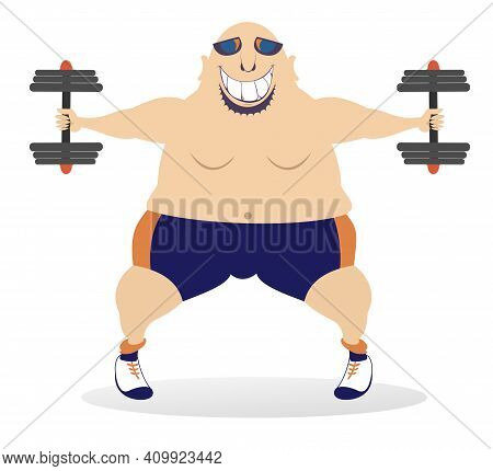 Cartoon Strong Man Does Exercises With Dumbbells Illustration. Smiling Bald-headed Man In Sunglasses