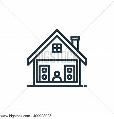 music icon isolated on white background from stay at home collection. music icon thin line outline l