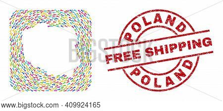 Vector Mosaic Poland Map Of Moving Arrows And Rubber Free Shipping Seal Stamp. Mosaic Geographic Pol